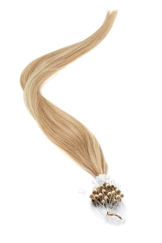 "American Pride Micro Ring Hair Extensions 18"" Mousey Brown/Blonde (18-22) - Beauty Hair Direct"