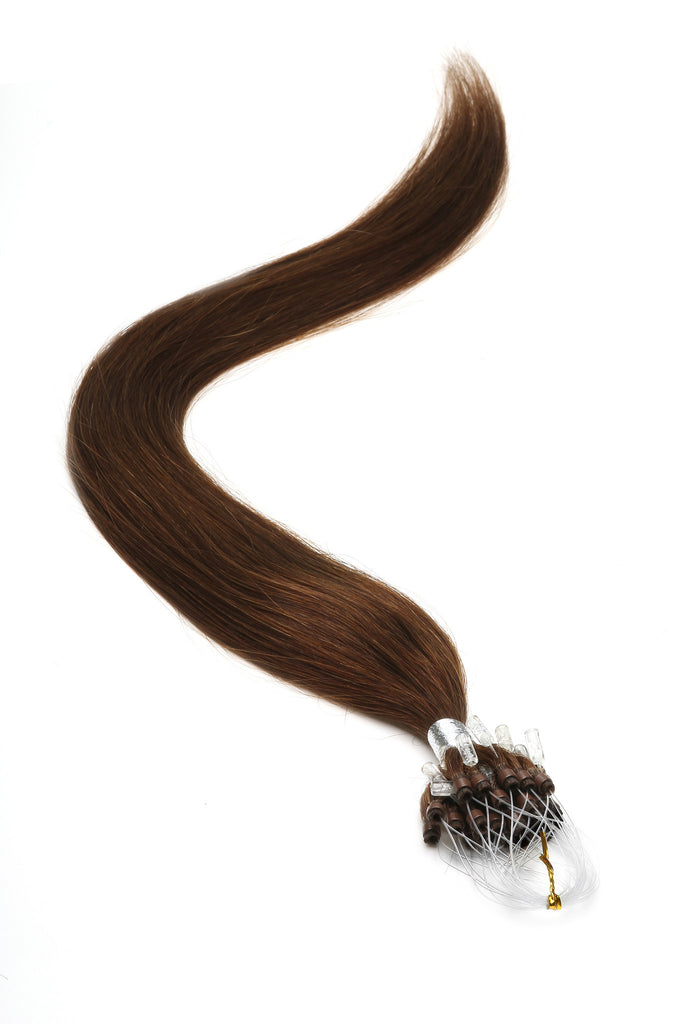 "American Pride Micro Ring Hair Extensions 22"" Brown (4) - Beauty Hair Direct"