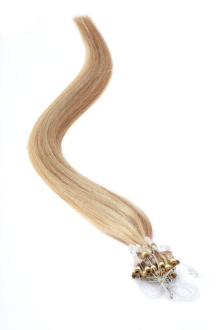 "American Pride Micro Ring Hair Extensions 18"" Light Brown/Blonde (10-22) - Beauty Hair Direct"