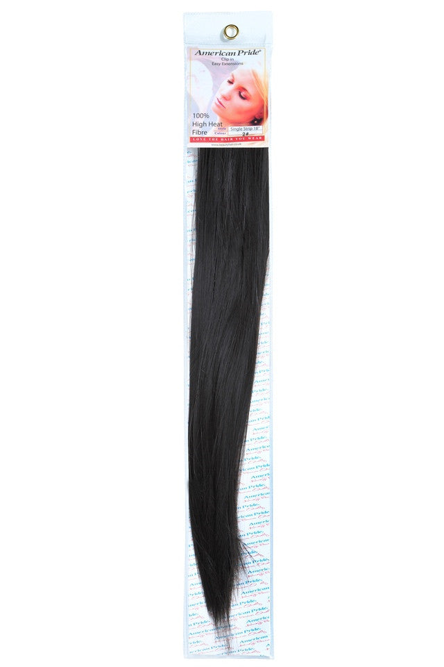 "American Pride Synthetic Single Weft Clip in Hair 6 Clips Hair Extensions 18"" Brownest Brown (2) - Beauty Hair Direct - 1"