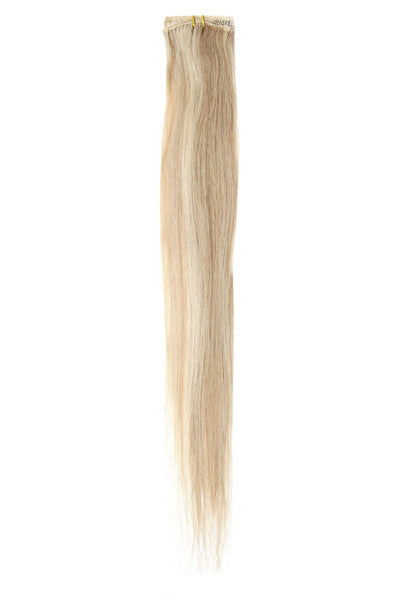 "American Pride Clip in Hair Extensions 6clips Single Weft 18"" Brown Blonde Blend (18/22) - Beauty Hair Direct - 1"