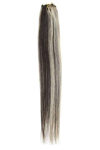 "American Pride Clip in Hair Extensions 6clips Single Weft 18"" Black and White (1B/22) - Beauty Hair Direct - 1"