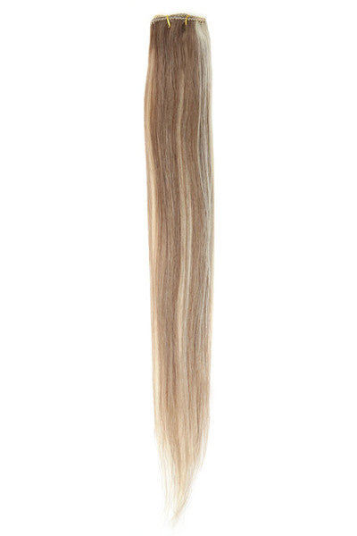"American Pride Clip in Hair Extensions 6clips Single Weft 18"" Brown Blondie Blend (8/22) - Beauty Hair Direct - 1"
