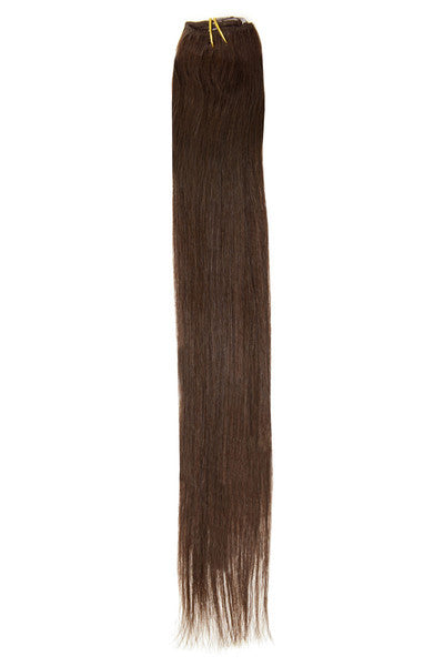 "American Pride Clip in Hair Extensions 6clips Single Weft 18"" Darkest Brown (2) - Beauty Hair Direct"