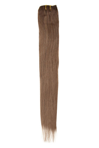 "American Pride Clip in Hair Extensions 6clips Single Weft 18"" Warm Brown (6) - Beauty Hair Direct - 1"