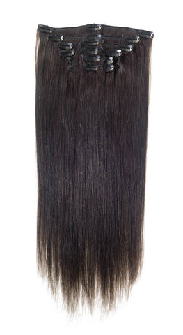 "American Pride Clip in Full Head Human Hair Extensions 18"" Barely Black (1b) - Beauty Hair Direct"
