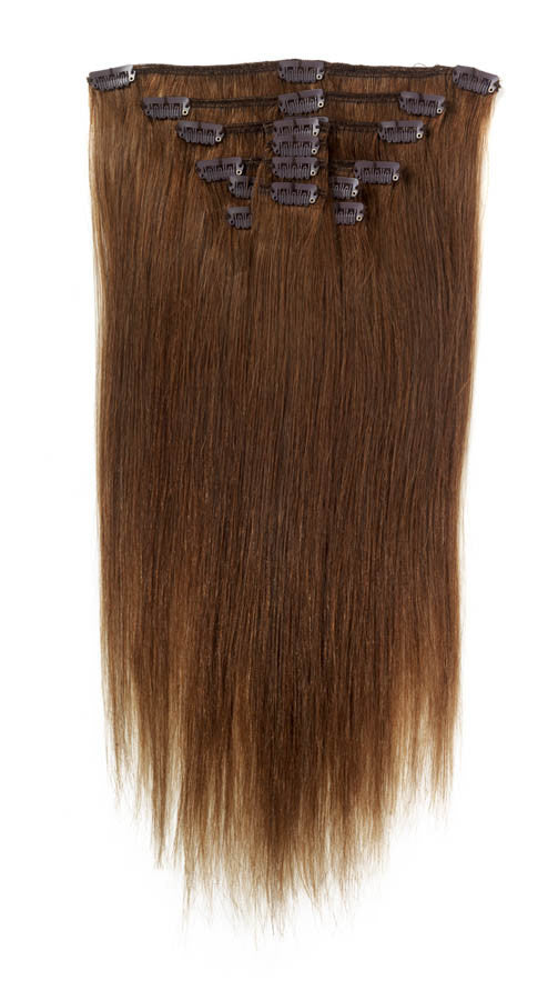 "American Pride Clip in Full Head Human Hair Extensions 18"" Chocolate Brown (6) - Beauty Hair Direct"