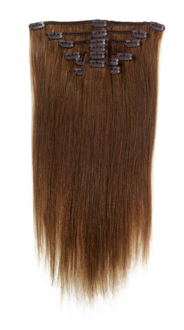 "American Pride Clip in Full Head Human Hair Extensions 22"" Chocolate Brown (6) - Beauty Hair Direct"