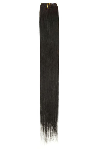 "American Pride Single Weft Clip in Hair Extensions 6clips 18"" Jet Black (1) - Beauty Hair Direct"