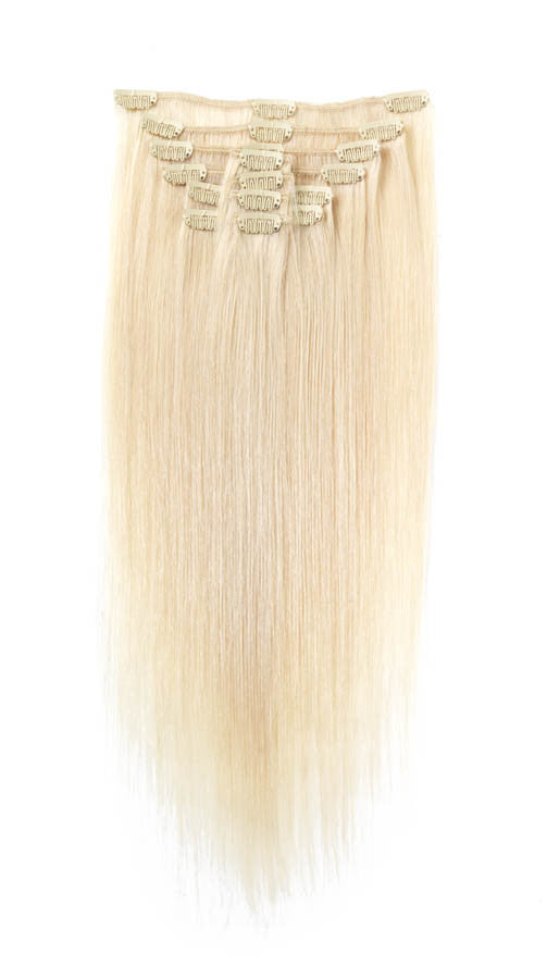 "American Pride Clip in Full Head Human Hair Extensions 18"" Ash Blonde (60) - Beauty Hair Direct"