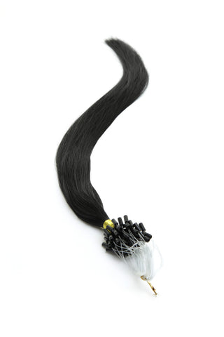 "American Pride Micro Ring Hair Extensions 18"" Jet Black (1) - Beauty Hair Direct"