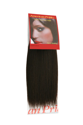 "American Pride Yaki Weave Human Hair Extensions 8"" Brownest Brown (2) - Beauty Hair Direct"
