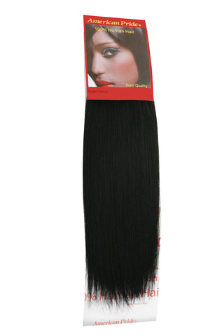"American Pride Yaki Weave Human Hair Extensions 12"" Jet Black (1) - Beauty Hair Direct"