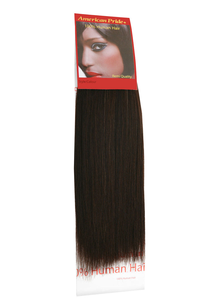 "American Pride Yaki Weave Human Hair Extensions 12"" Barely Black (1b) - Beauty Hair Direct"