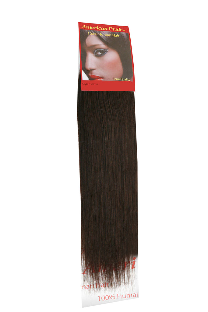 "American Pride Yaki Weave Human Hair Extensions 18"" Barely Black (1b) - Beauty Hair Direct"