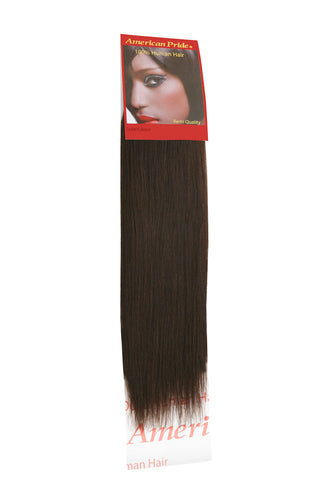 "American Pride Yaki Weave Human Hair Extensions 16"" Brownest Brown (2) - Beauty Hair Direct"