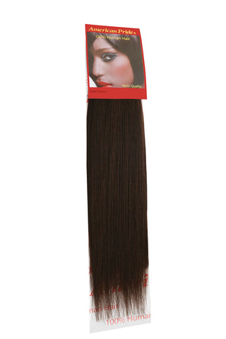 "American Pride Yaki Weave Human Hair Extensions 18"" Dark Brown (3) - Beauty Hair Direct"