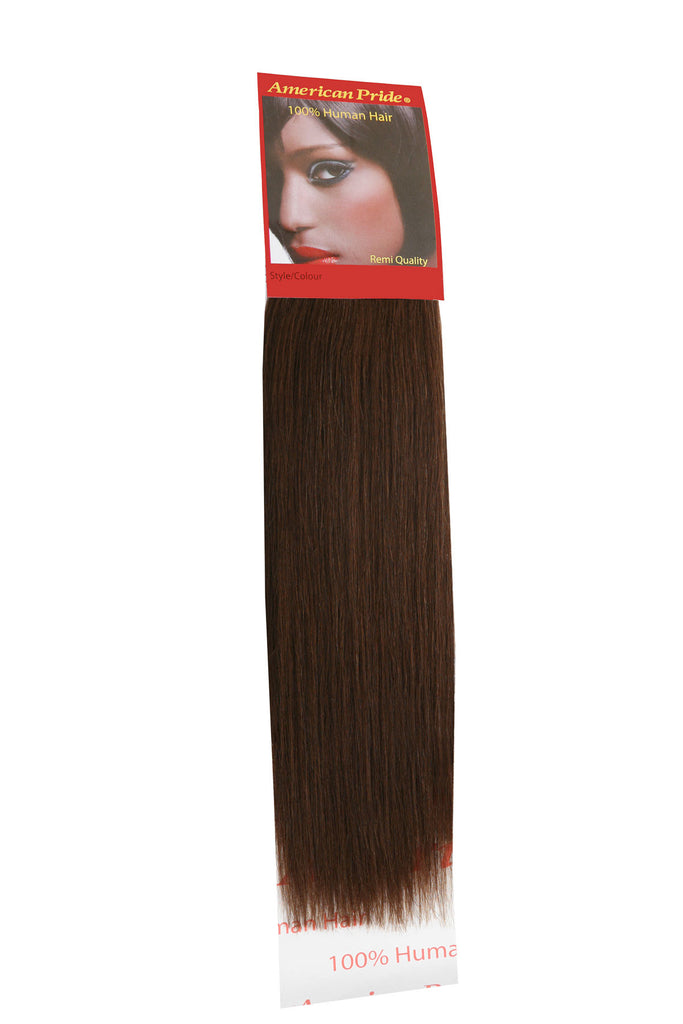 "American Pride Yaki Weave Human Hair Extensions 16"" Brown (4) - Beauty Hair Direct"