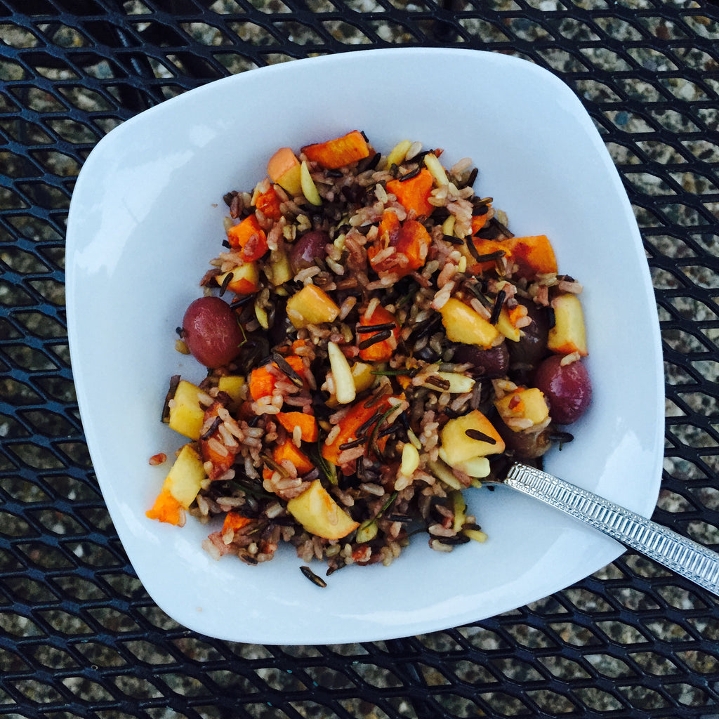 LOinLONDON® Wild rice with sweet potatoes, apples, grapes & almonds!