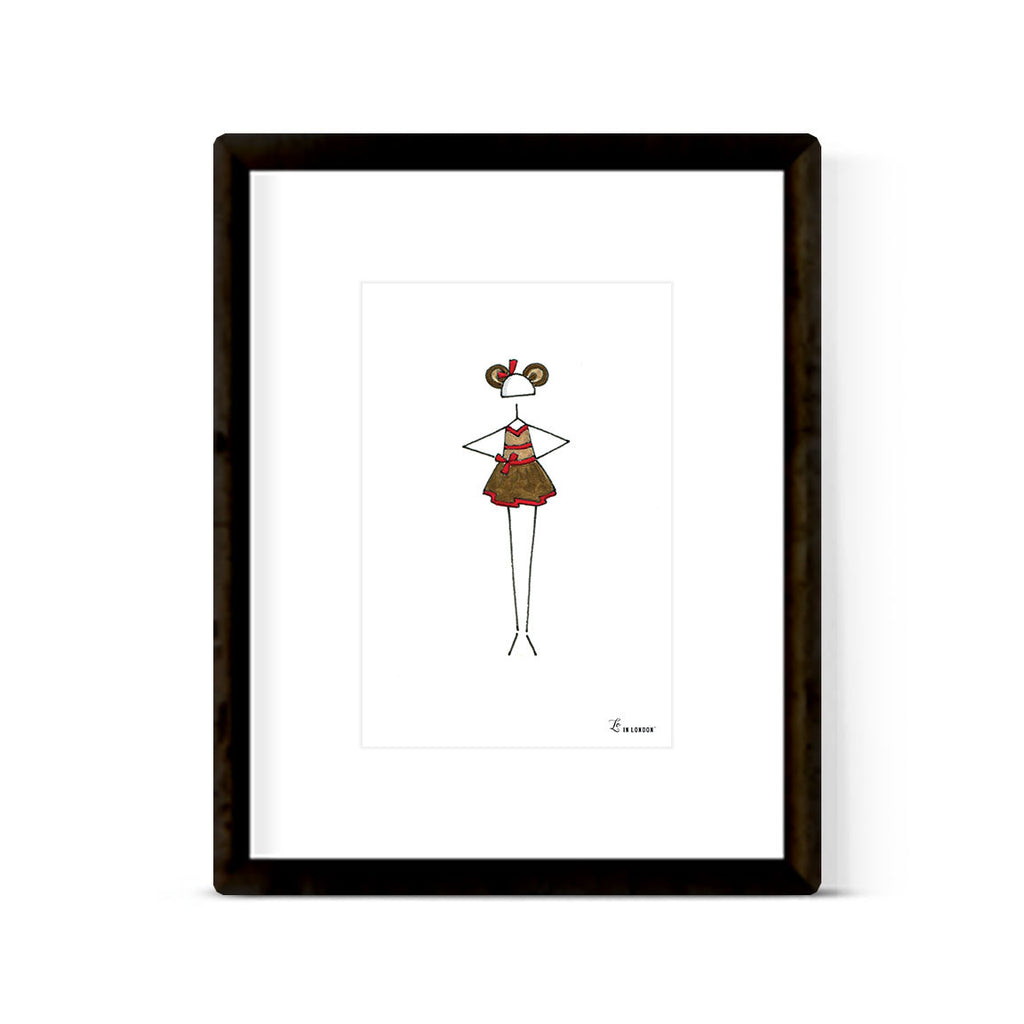 """LITTLE BALLERINA: MONKEY SEE MONKEY DO"" ART PRINT"