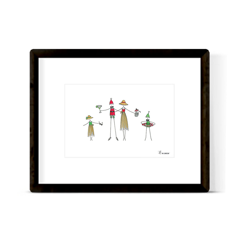 """SANTA ON THE BEACH"" ART PRINT"