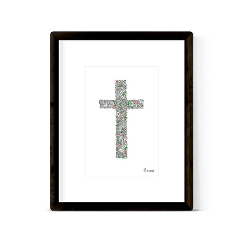 """FLORAL CROSS"" ART PRINT"