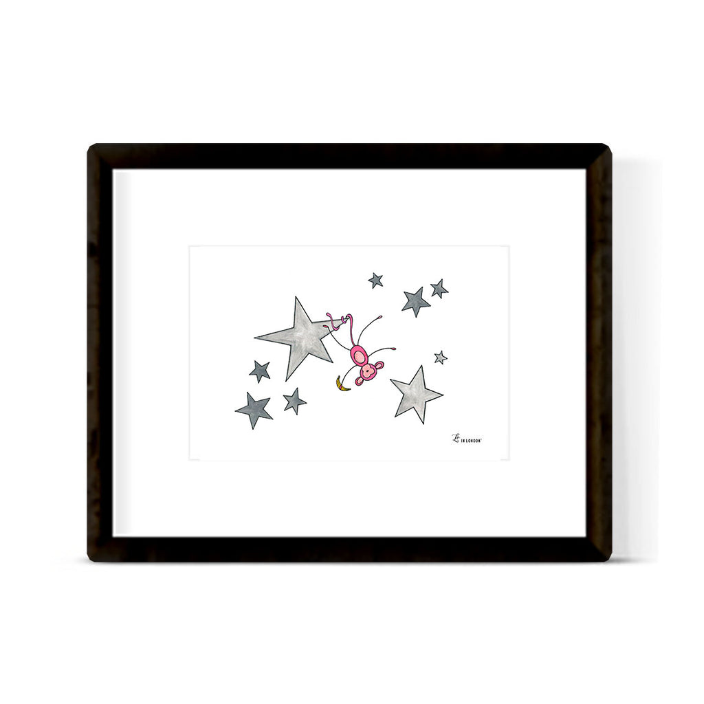 """MONKEY IN THE STARS"" ART PRINT"