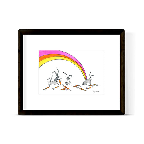 """RAINBOW BUNNIES"" ART PRINT"