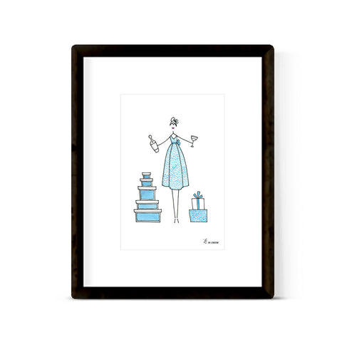 """BLUE DOT DRESS"" ART PRINT"