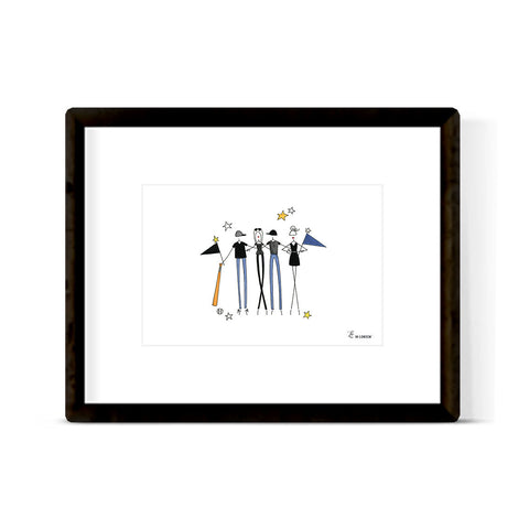 """BASEBALL FAMILY IN BLACK & BLUE"" ART PRINT"