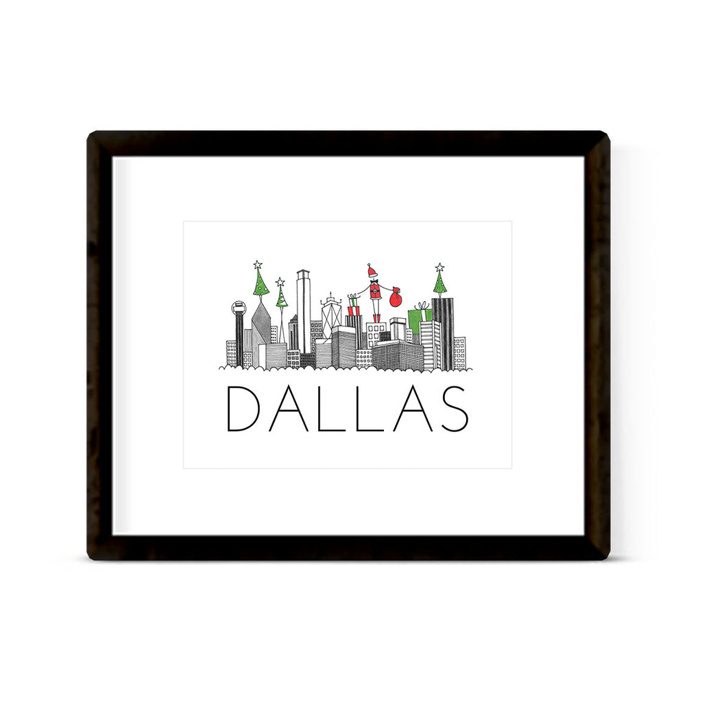 """DALLAS SKYLINE: HOLIDAY"" ART PRINT"