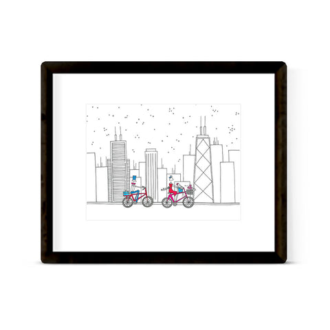 """BIKING THE CITY"" ART PRINT"