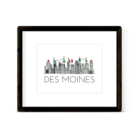 """DES MOINES SKYLINE: HOLIDAY"" ART PRINT"
