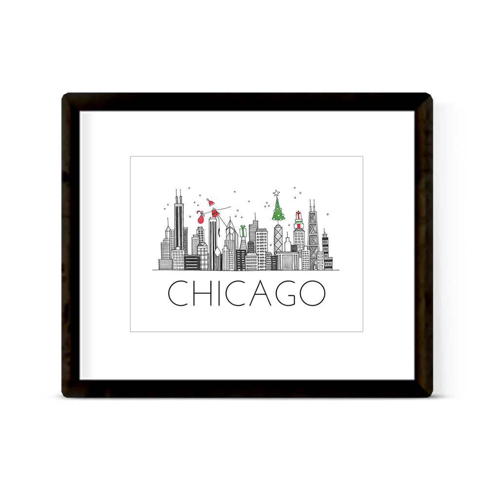 """CHICAGO SKYLINE: HOLIDAY"" ART PRINT"