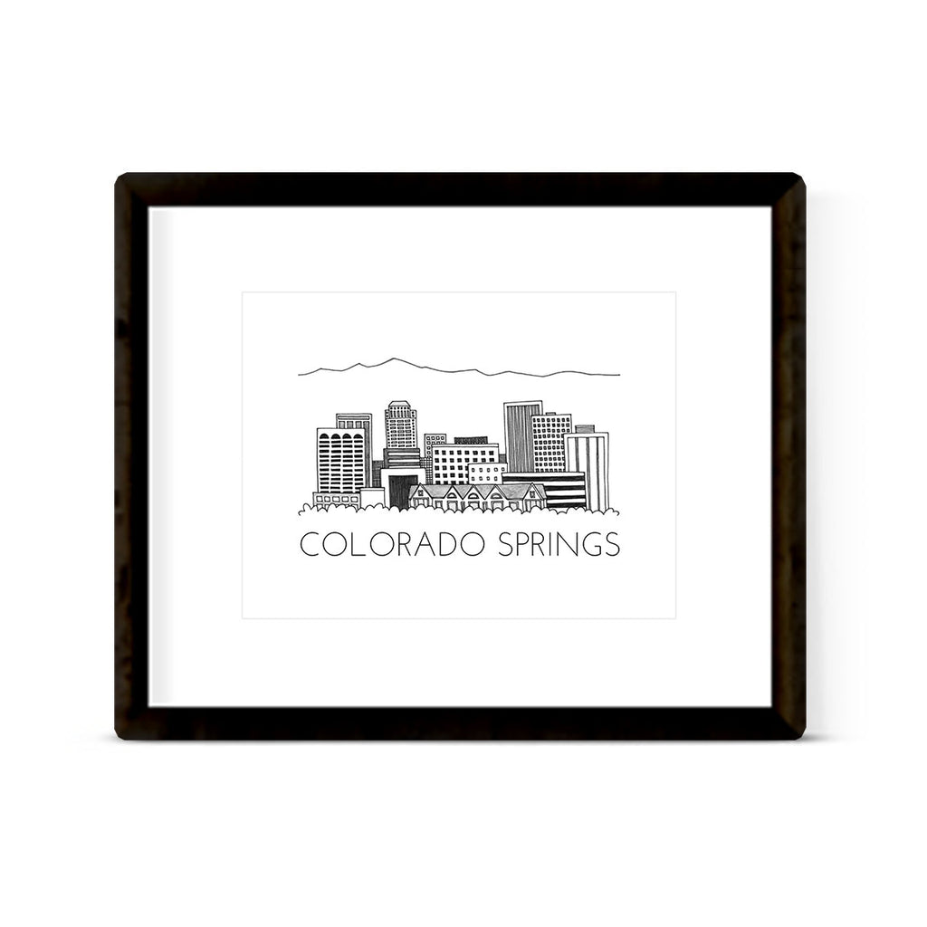"""COLORADO SPRINGS SKYLINE"" ART PRINT"