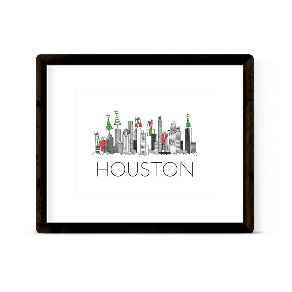 """HOUSTON SKYLINE: HOLIDAY"" ART PRINT"
