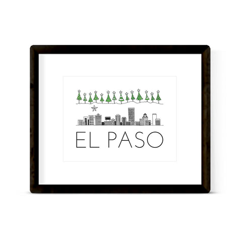 """EL PASO SKYLINE: HOLIDAY"" ART PRINT"