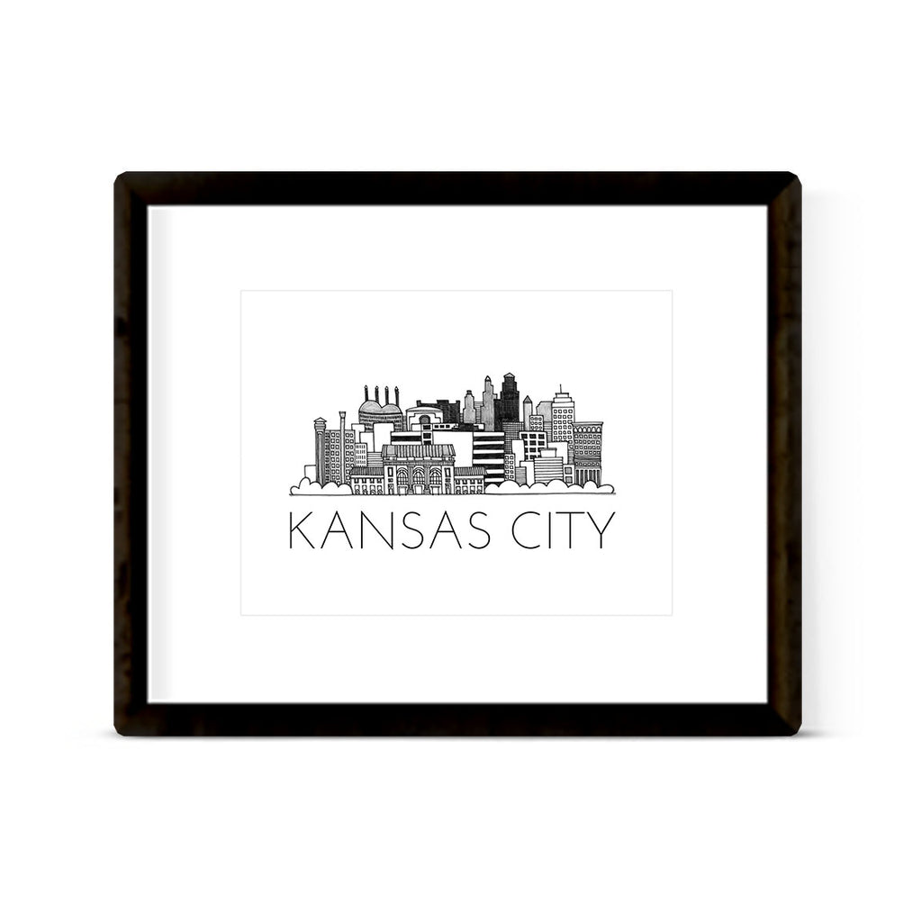 """KANSAS CITY SKYLINE"" ART PRINT"