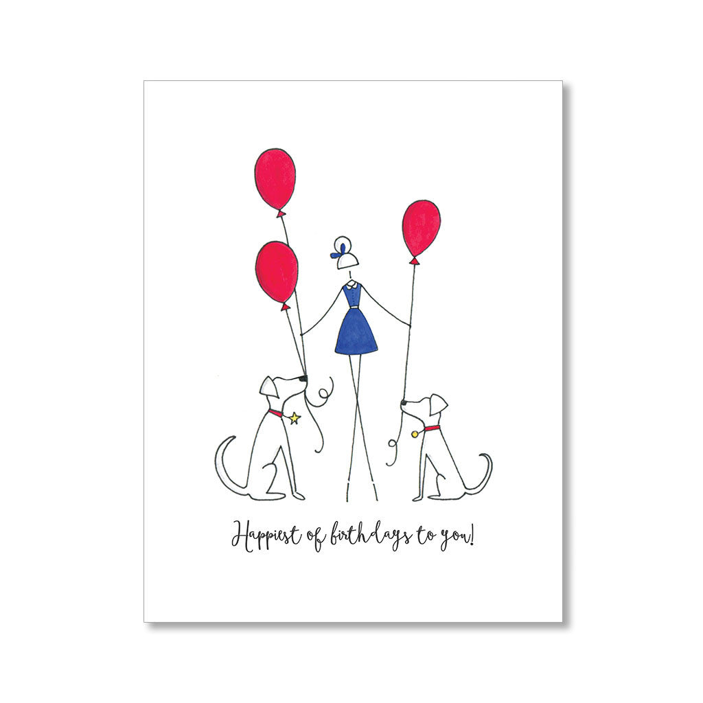 """A GIRL AND HER DOGS"" BIRTHDAY CARD"