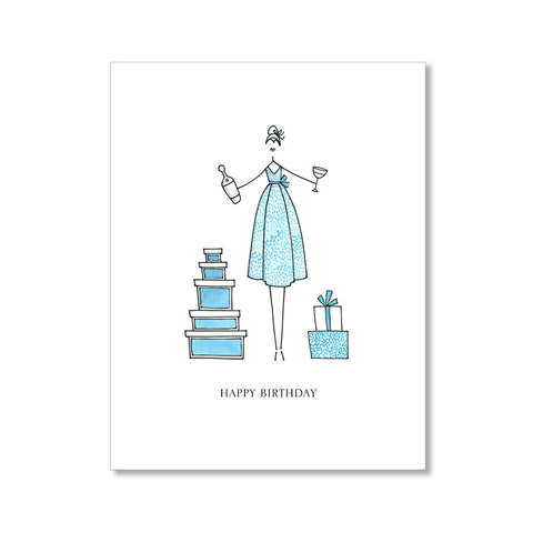 """BLUE DOT DRESS"" BIRTHDAY CARD"