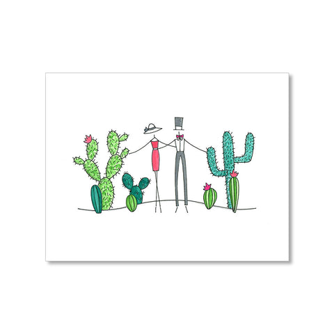 """CACTUS COUPLE"" BLANK CARD"