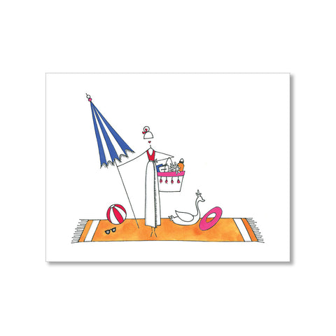 """JULY AT THE BEACH"" BLANK CARD"