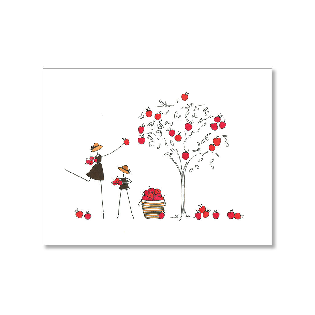 """APPLE PICKING"" BLANK CARD"