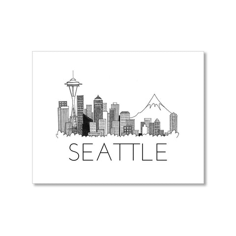 """SEATTLE SKYLINE"" BLANK CARD"