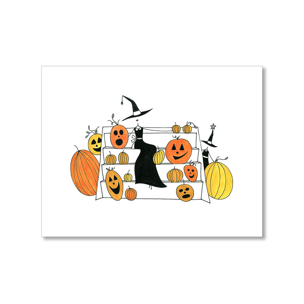 """SITTING PRETTY WITH PUMPKINS"" HALLOWEEN CARD"