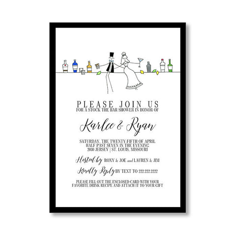 """STOCK THE BAR"" BRIDAL SHOWER INVITATION"