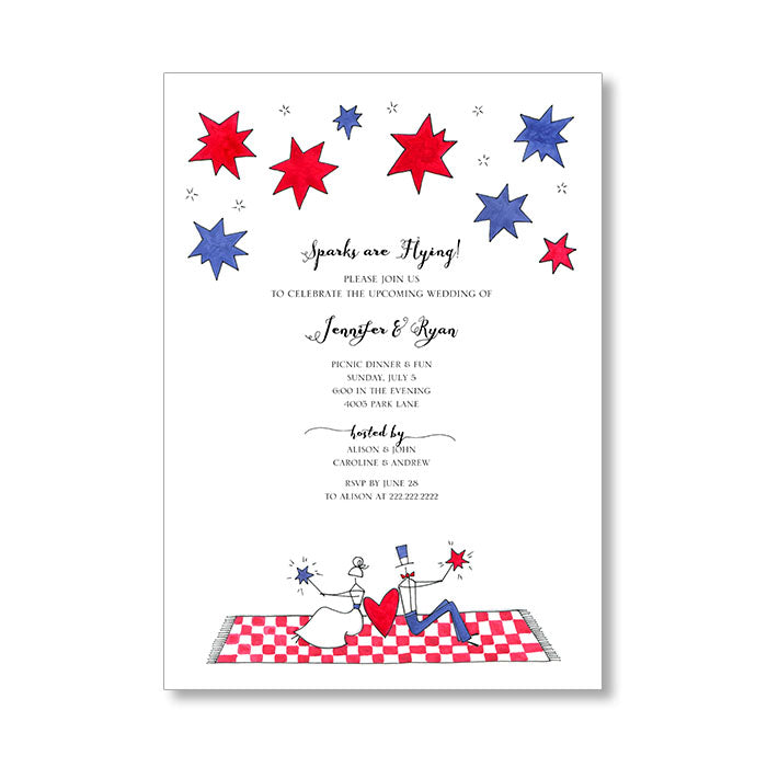 """SPARKS ARE FLYING"" WEDDING SHOWER INVITATION"