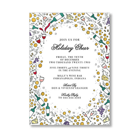 """WINE & CHEESE"" HOLIDAY INVITATION"