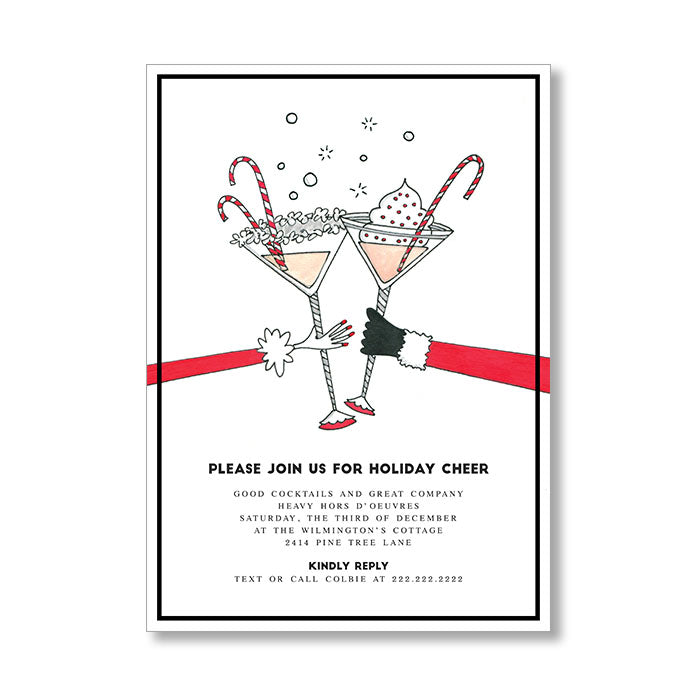 """CANDY CANE MARTINI"" HOLIDAY INVITATION"