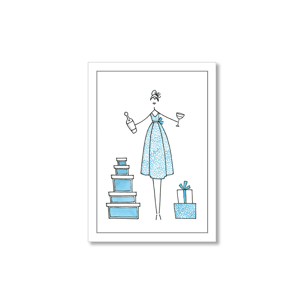 """BLUE DOT DRESS"" GIFT TAGS - SET OF 10"
